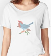 Dear Little Cross Stitch Bird Women's Relaxed Fit T-Shirt