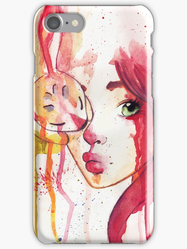 rabbit and girl iphone case by lunaticpark