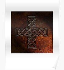 Celtic Knotwork Cross 02 - Rust Texture 01 Print Poster
