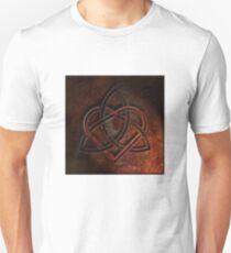 Celtic Knotwork Valentine Heart 01 - Rust Texture 01 TShirt T-Shirt