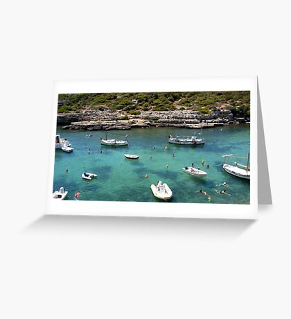 Menorcan Boats And Bathers Greeting Card