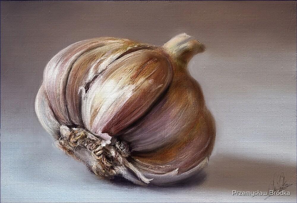Classic still life garlic painting by Przemysław Bródka