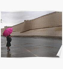 Standing in the rain (Khiva) Poster
