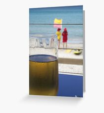 enjoyment - a cool one at the beach Greeting Card