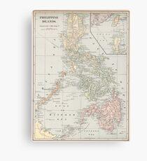 Vintage Karte der Philippinen (1901) Leinwanddruck
