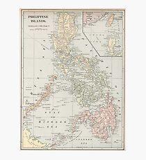 Vintage Karte der Philippinen (1901) Fotodruck