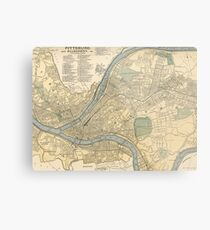 Vintage Karte von Pittsburgh PA (1891) Metallbild