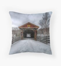 Fitch Bay Covered Bridge Throw Pillow