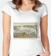 Camiseta entallada de cuello redondo Vintage Pictorial Map of The Port of New York