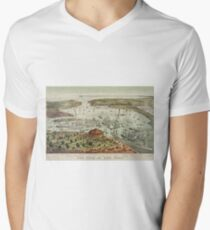 Camiseta para hombre de cuello en v Vintage Pictorial Map of The Port of New York