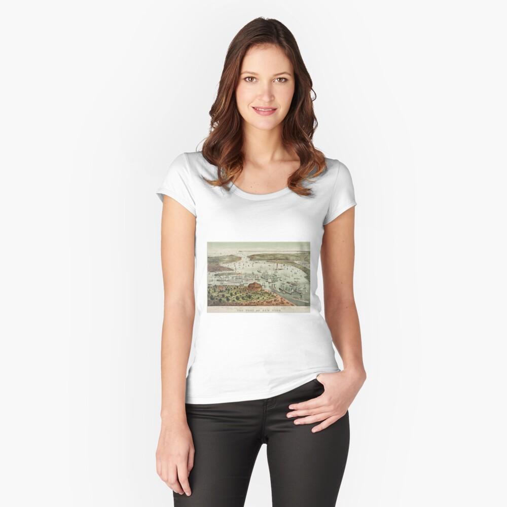Camiseta entallada de cuello redondoVintage Pictorial Map of The Port of New York Delante
