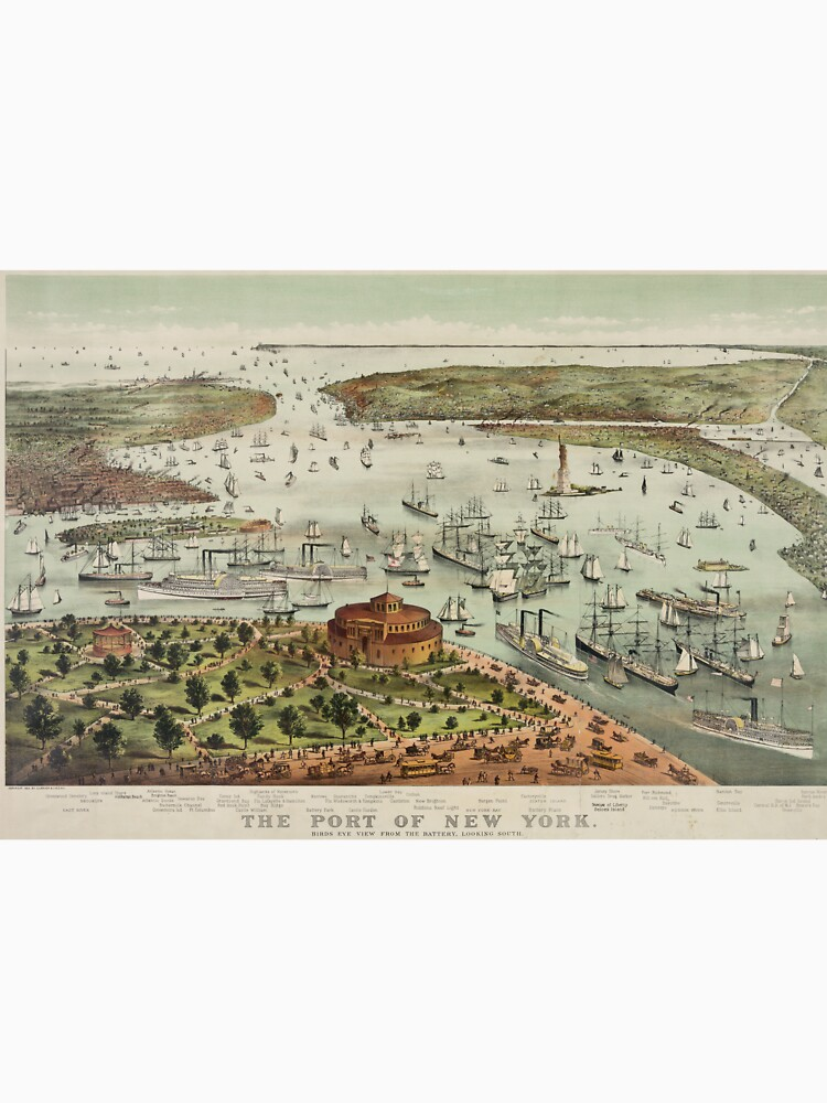 Vintage Pictorial Map of The Port of New York de BravuraMedia