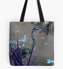 Blue Heron against Purple grass Tote Bag