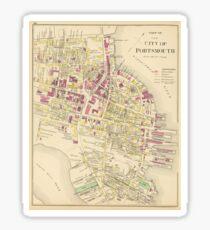 Vintage Map of Portsmouth NH (1892) Sticker