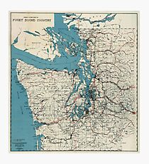 Vintage Map of The Puget Sound (1919) Photographic Print