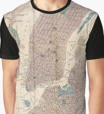 Camiseta gráfica Vintage Map of New York City (1867)