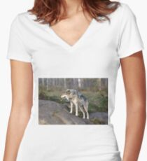 A lone timber wolf  Women's Fitted V-Neck T-Shirt