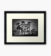 Welcome To Las Vegas Sign Series 3 of 6 Holga Black and White Framed Print