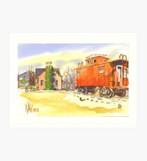 Caboose and Ironton Depot in Winter Art Print