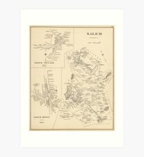 Vintage Map of Salem Massachusetts (1892) Art Print