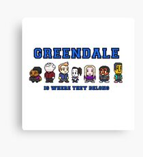 8-bit Greendale is Where They Belong (College Text) Canvas Print