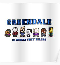 8-bit Greendale is Where They Belong (College Text) Poster