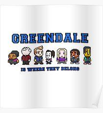 8-bit Greendale ist, wo sie gehören (College Text) Poster
