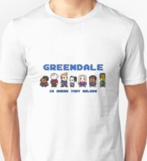 8-bit Greendale is Where They Belong (Video Game Text) Unisex T-Shirt