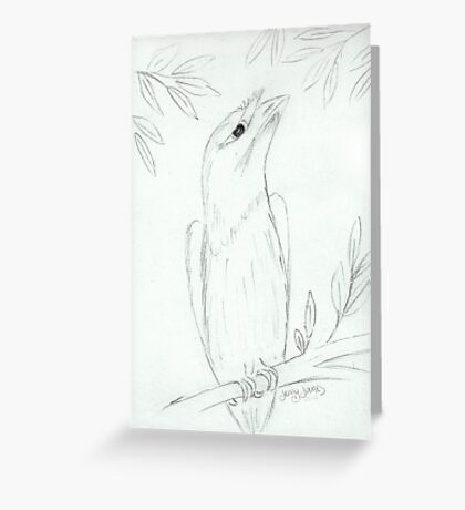 Tawny Frogmouth Sketch Greeting Card