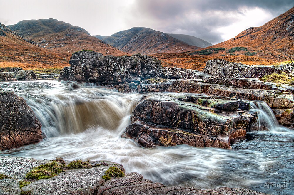 Waterfall On The River Etive by Aj Finan