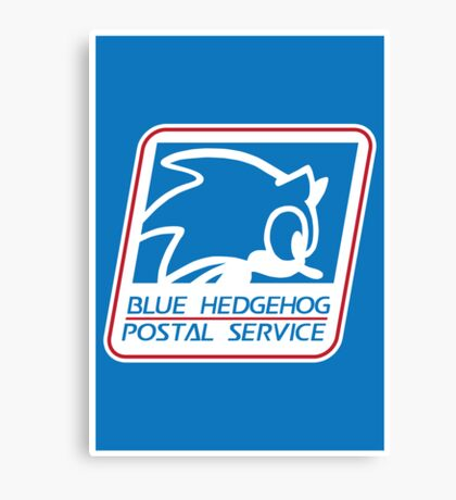 BLUE HEDGEHOG POSTAL SERVICE Canvas Print