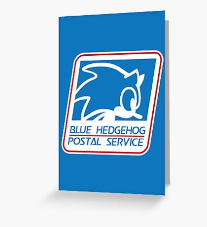 BLUE HEDGEHOG POSTAL SERVICE Greeting Card