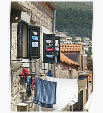 washing on lines in Dubrovnik Poster