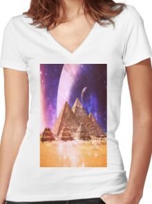 Space Pyramids Women's Fitted V-Neck T-Shirt