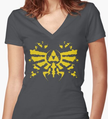 Hyrule Rorschach (gold) Women's Fitted V-Neck T-Shirt