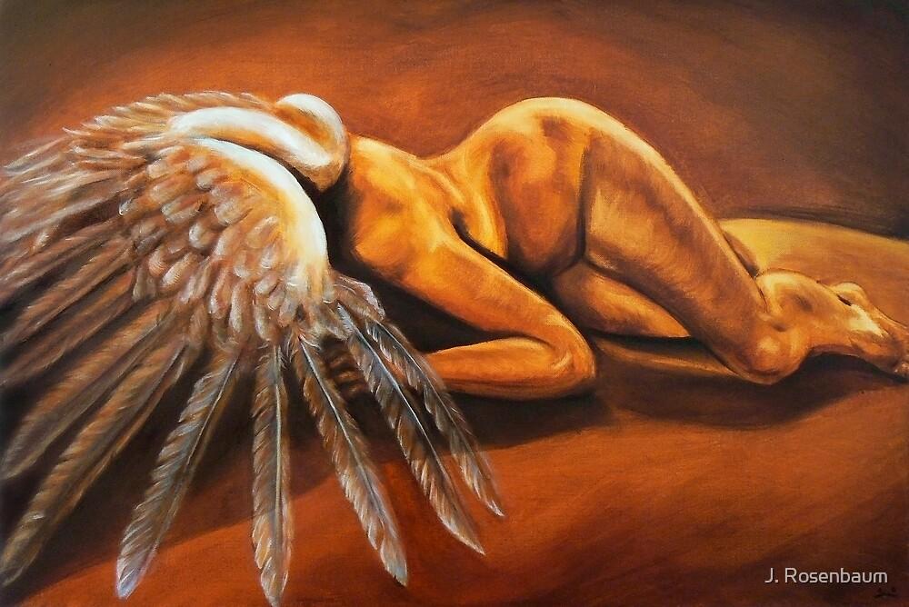 Fallen - fallen nude angel emotive oil painting by J. Rosenbaum