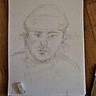 Self portrait sketch in beret by James Kearns