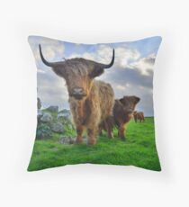Cornwall: Heiland Coo's on the Cornish Coast Throw Pillow