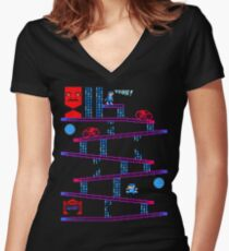 DONKEY TRON Women's Fitted V-Neck T-Shirt