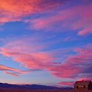Little House On Prairie with Big Colorful Colorado Sunset Sky by Bo Insogna