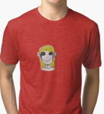 Creepy Blond Doll Tee  Tri-blend T-Shirt