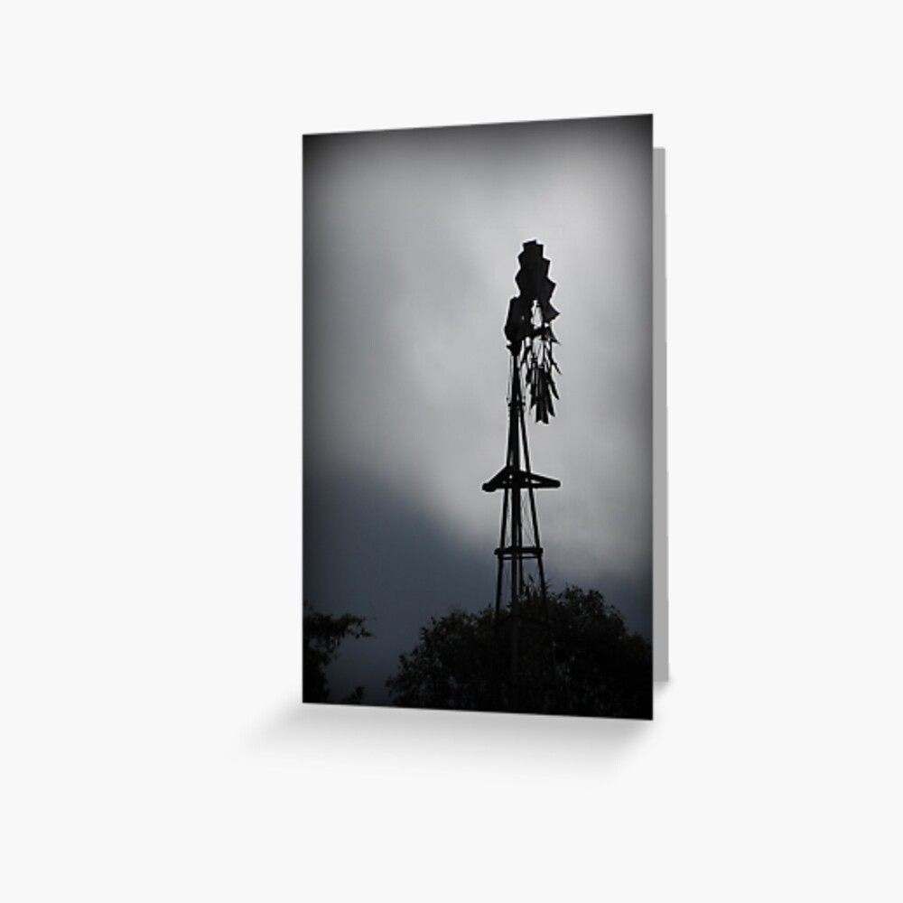 Windmill Silhouette Greeting Card