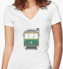 Melbourne Heritage Tram Women's Fitted V-Neck T-Shirt