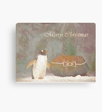 Cave Dweller Penguin (With Rock Gift) Canvas Print