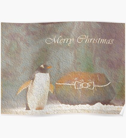 Cave Dweller Penguin (With Rock Gift) Poster