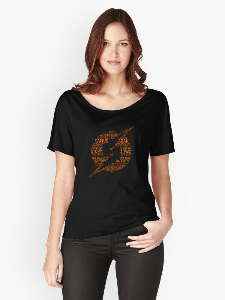 Metroid Typography Women's Relaxed Fit T-Shirt Front