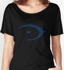 Halo Typography [Blue] Women's Relaxed Fit T-Shirt