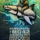 Sasquatch riding bareback on a Great White Shark by CatLauncher