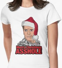 Merry Christmas, Asshole. Womens Fitted T-Shirt