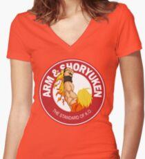 Arm & Shoryuken. The Standard of K.O. Women's Fitted V-Neck T-Shirt